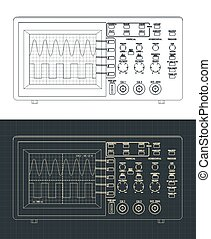 Stylized vector illustration of laboratory oscilloscope drawings