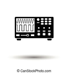 Oscilloscope icon. White background with shadow design. Vector illustration.
