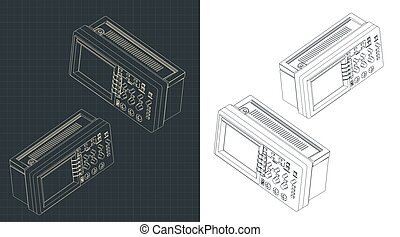 Stylized vector illustration of laboratory oscilloscope isometric drawings