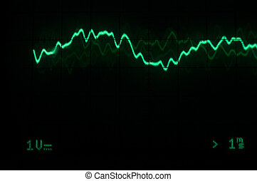 Oscilloscope trace - Green/blue oscilloscope waveform trace...
