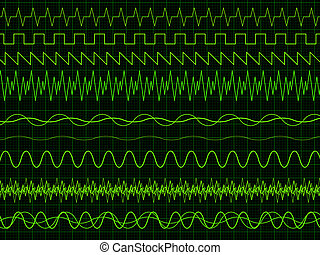 Different oscilloscope waves. Vector illustration on graph background