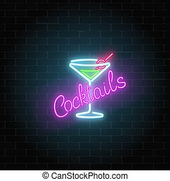 oscuridad, barra, alcohol, fondo., pared, gas, letrero de ...