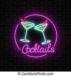 oscuridad, barra, alcohol, pared, neón, gas, señal, cócteles...