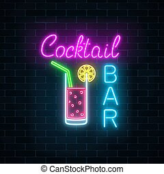 oscuridad, barra, fondo., club, signboard, letrero de gas de...