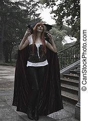 oscuridad, belleza, debajo, lluvia, pelo rojo, mujer, con, largo, abrigo negro