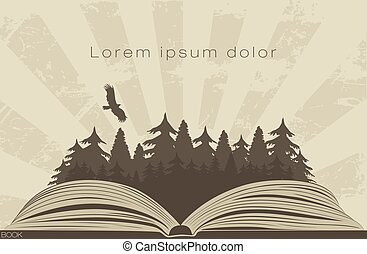 oscuridad, bosque, en, libro abierto
