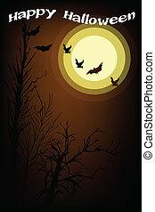 oscuridad, bosque, en, un, luz de la luna, noche, plano de fondo
