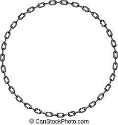 oscuridad, cadena, en forma, de, círculo