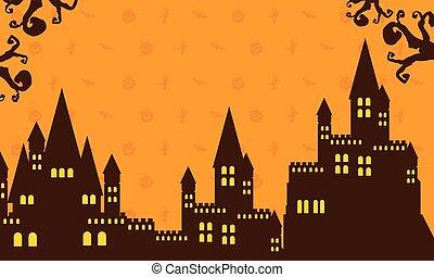oscuridad, castillo, halloween, colección
