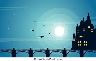 oscuridad, castillo, halloween, plano de fondo, colección