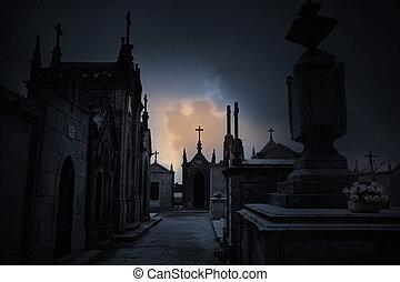 oscuridad, cementerio