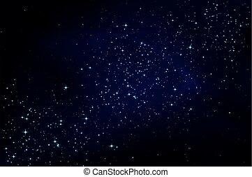 oscuridad, cielo de la noche, con, estrellas
