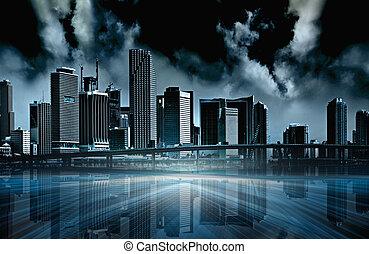 oscuridad, ciudad, resumen, ilustración