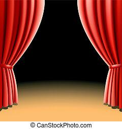 oscuridad, cortina, teatro, rojo