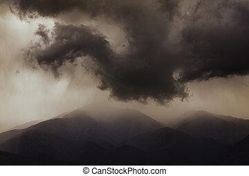 oscuridad, dramático, clouds., siniestro, sky.