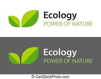 oscuridad, -, fondo., logotipo, hojas, aislado, icono, natural, blanco, orgánico, product., ilustración, ecología, verde