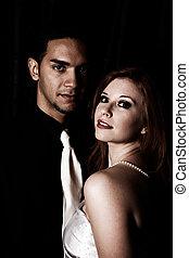 oscuridad, foto, pareja, filtrado, sexy