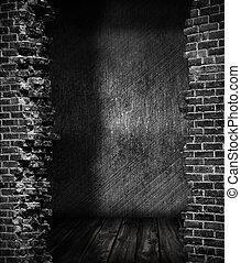 oscuridad, grunge, habitación