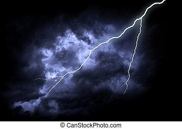 oscuridad, huelga, relámpago, nublado, sky.