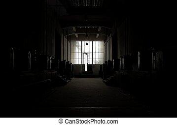oscuridad, lugar, abandonado