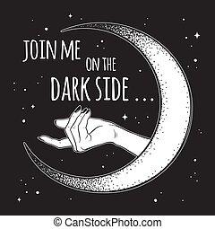 oscuridad, luna, lado, beckons, mano