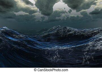 oscuridad, mar tempestuoso, debajo, cielo