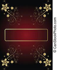 oscuridad, marco, flores, plano de fondo, oro