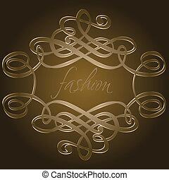 oscuridad, marrón, caligrafía, curvas, quad., vector,...