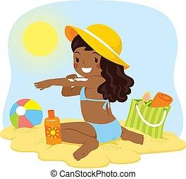 oscuridad, niña, pelado, poniendo, sunscreen