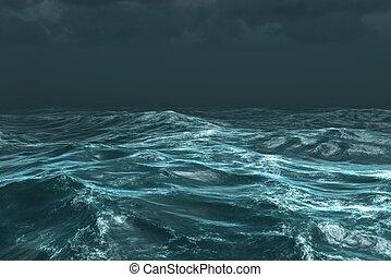 oscuridad, océano, tempestuoso, áspero, debajo, cielo