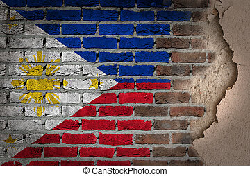 oscuridad, pared ladrillo, con, yeso, -, phillipines