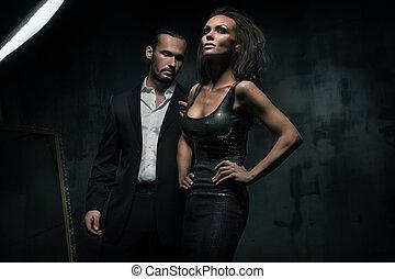 oscuridad, pareja, atractivo, plano de fondo