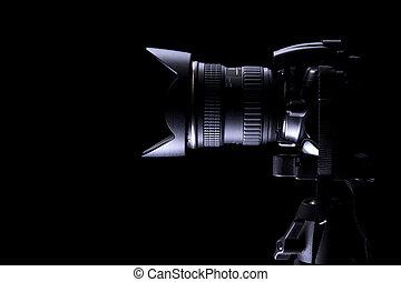 oscuridad, profesional, cámara, dslr, plano de fondo