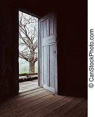 oscuridad, puerta, luz