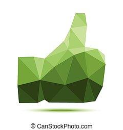oscuridad, pulgar up, triangular, polygonal, verde, geométrico, icono