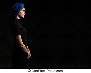 oscuridad, retrato, mujer, perfil