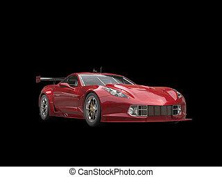oscuridad, rojo, coche deportivo, -, aislado, en, fondo negro