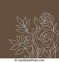 oscuridad, rosas, aislado, hermoso