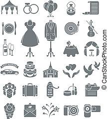 oscuridad, siluetas, boda, iconos