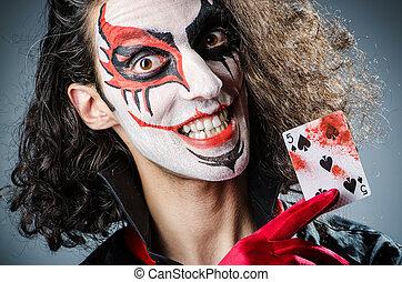 oscuridad, tarjetas, mal, habitación, payaso