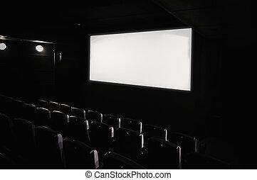 oscuridad, teatro película, interior.