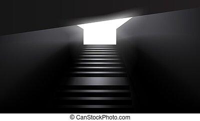 oscuridad, urbano, metro, escaleras, sity