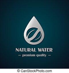 oscuridad, vector, hoja, mineral, cromo, símbolo, gota, etiqueta, agua, plano de fondo, natural
