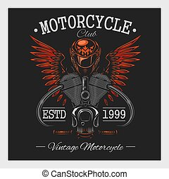 oscuridad, vendimia, print., motocicleta, monocromo
