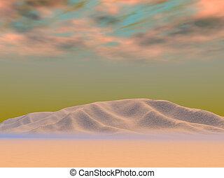 oscuro, desierto, mornin