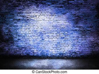 oscuro, pared ladrillo, en, azul