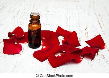 ose, bloem kroonbladen, met, aromatherapy, essentiële olie