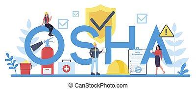 OSHA concept mobile application banner set. Occupational ...