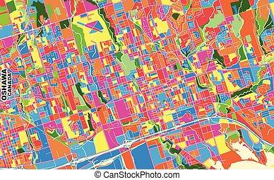Oshawa, Ontario, Canada, colorful vector map