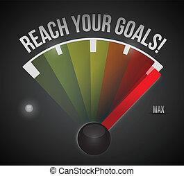 osiągać, ilustracja, projektować, cele, szybkościomierz, ...